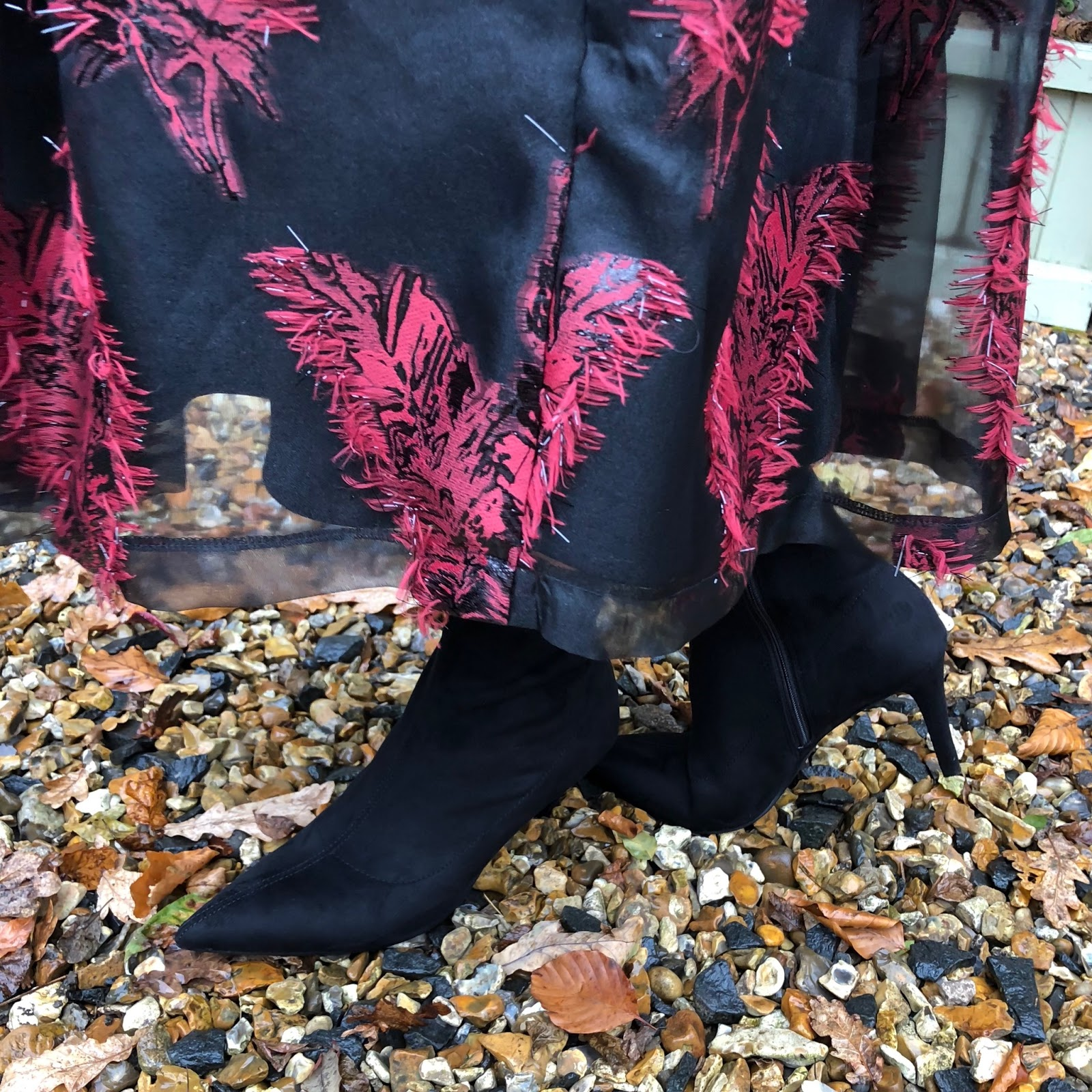 my midlife fashion, baukjen everyday leather biker jacket, marks and spencer pure cashmere roll neck jumper, marks and spencer feather flared jacquard a line midi skirt, marks and spencer stiletto side zip ankle boots