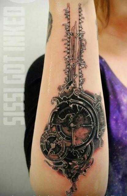 Amazing Forearm Steampunk Tattoos For Girls