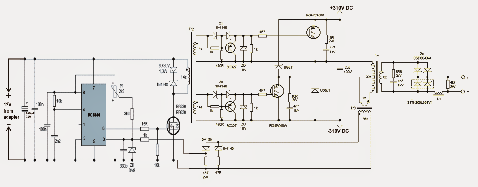 the tr1 switching transformer is wounded two ferrite ee core and they both have the central smps welding inverter circuit circuit diagram  [ 1544 x 606 Pixel ]