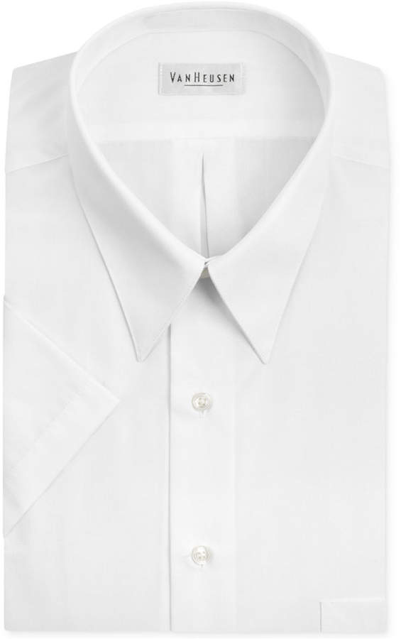 Van Heusen Poplin Solid Short-Sleeve Dress Shirt