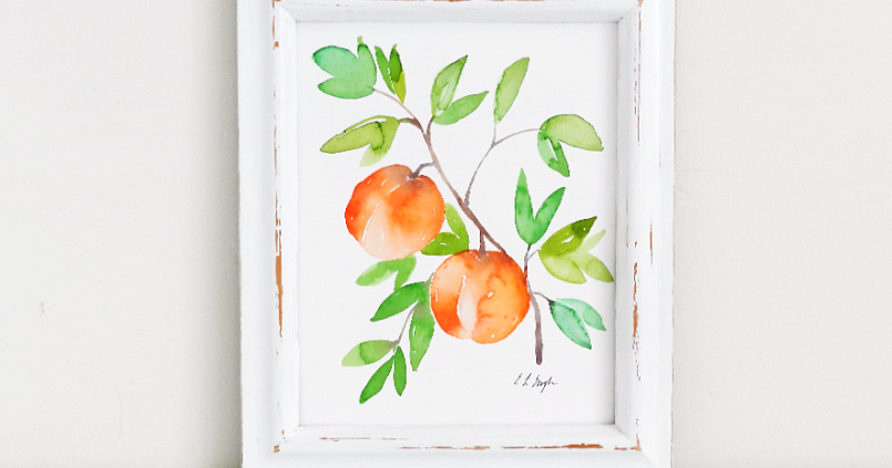 Watercolor Peaches and Abstract Patterns
