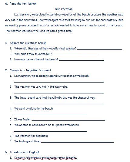 Materi Bahasa Inggris untuk Tingkat SMP Membaca Cerita Pendek dalam Bentuk Simple Past Tense dilengkapi dengan Soal-soal Latihan