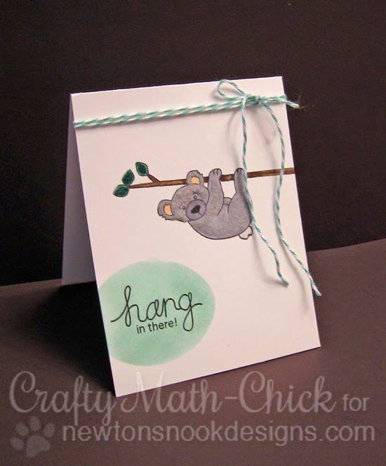 Flocked koala card by Crafty Math Chick | Hanging Around set by Newton's Nook Designs