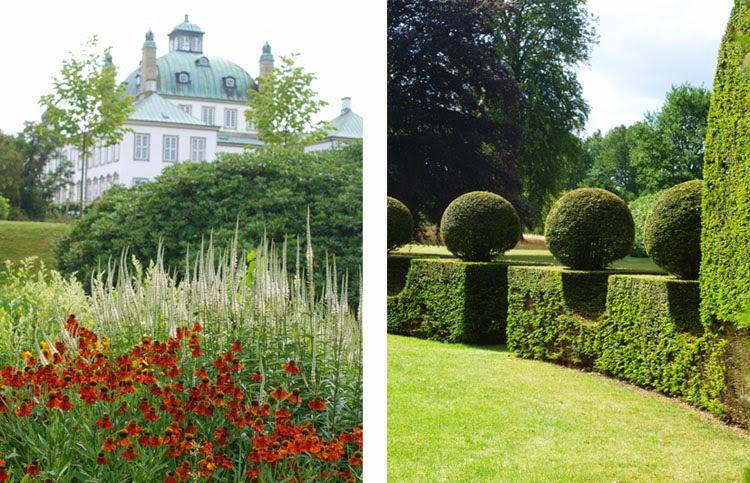 Fredensborg Slot med staudebede og præcist klippede hække