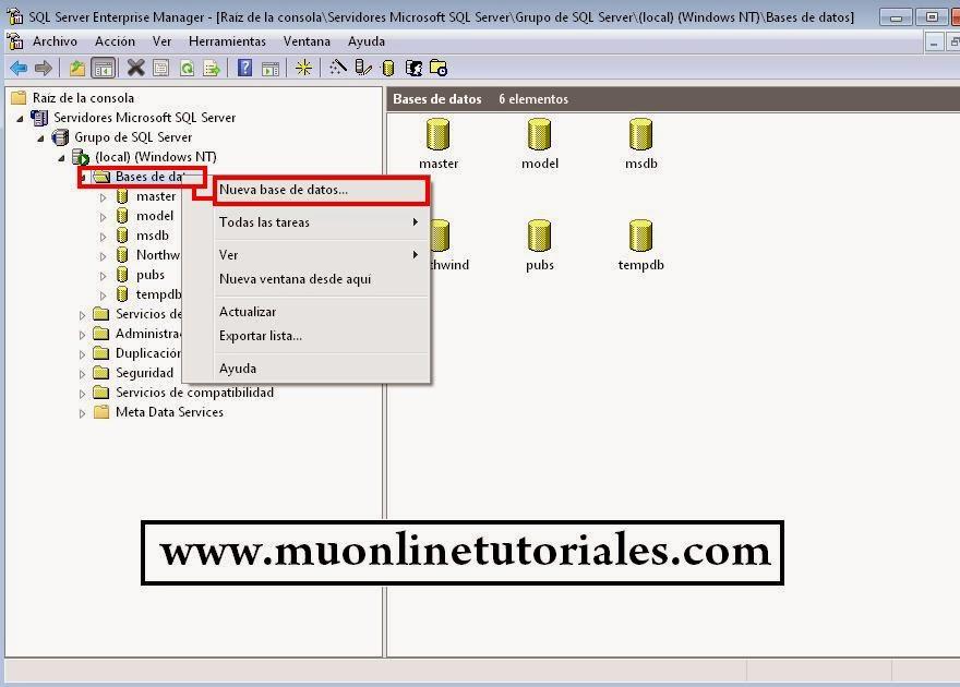 Creación de base de datos MuOnline