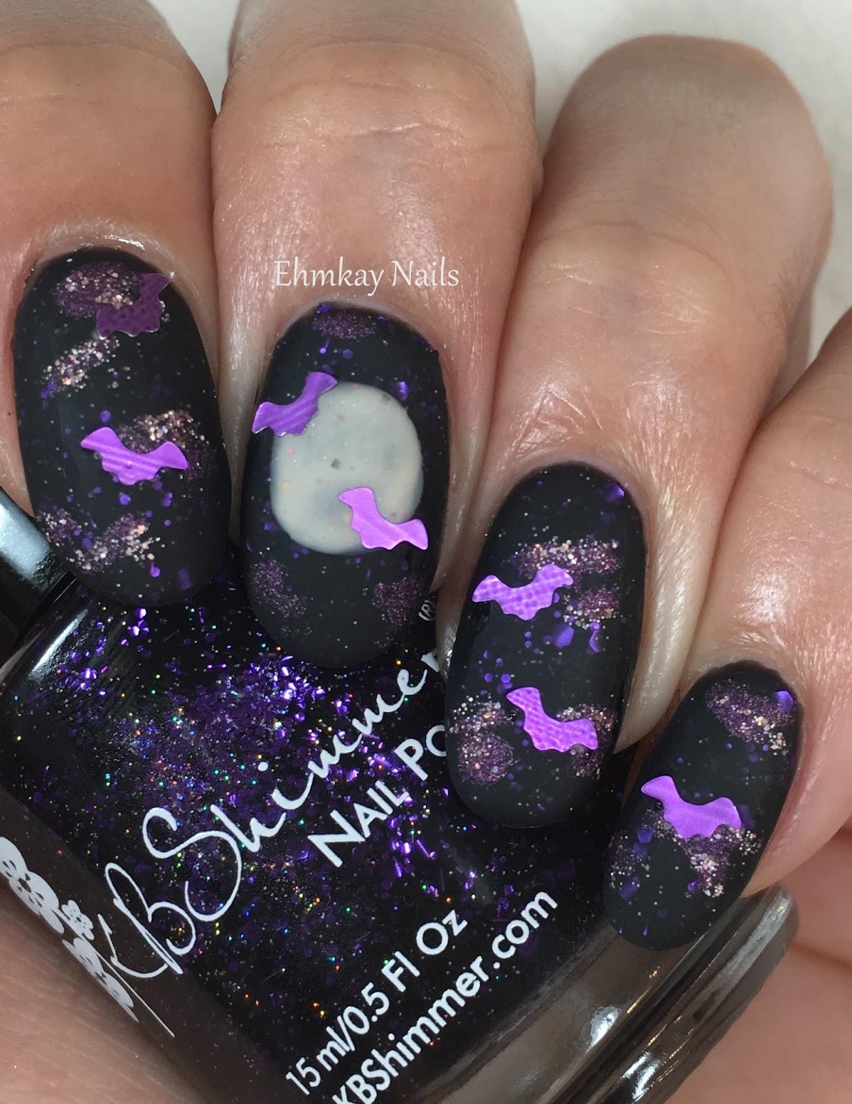 Ehmkay Nails Halloween Nail Art Bats And Full Moon Art With