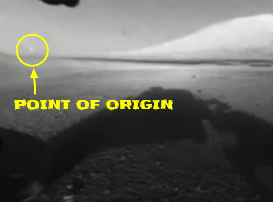 Here's the point of origin for the UFO on Mars.