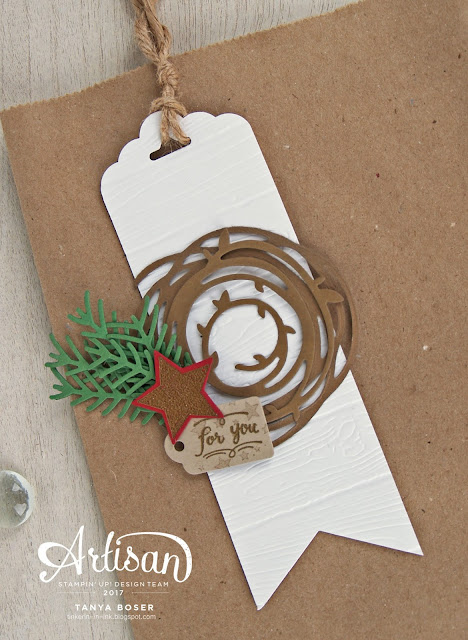Bag Tag with Stampin' Up! Wood Words, Swirly Scribbles, Pretty Pines, Wood Crate, Scallop Tag Topper Banner Triple punch, Pine Planks embossing folder. So festive!~Tanya Boser for the Stamp Review Crew