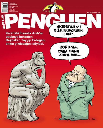 tayyip erdoğan ve düşünen adam karikatür