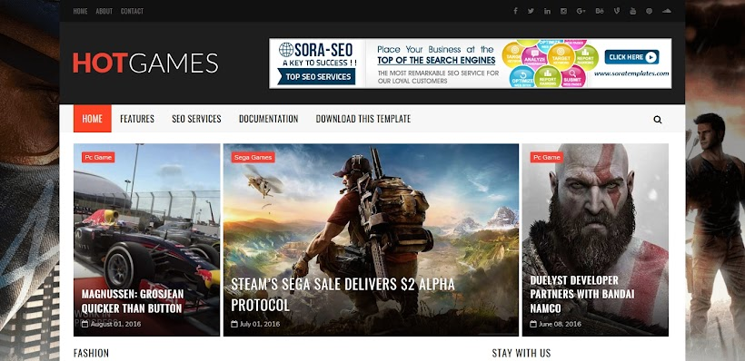 Hot Games Gaming Free Blogger Template