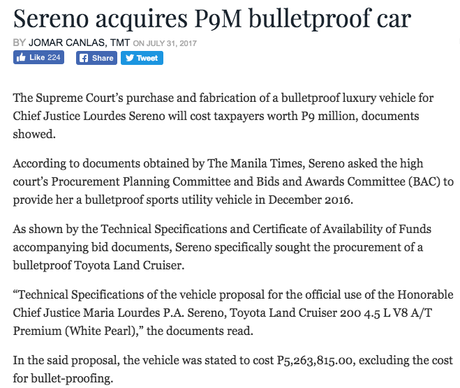 shell tabangao refinery life: CHIEF JUSTICE SERENO ON BULLET PROOF