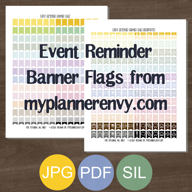 Free Printable Event Reminder Banner Flags from myplannerenvy.com