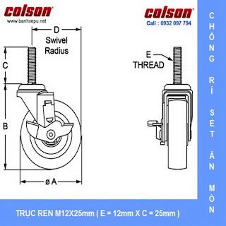 Bảng vẽ kích thước bánh xe đẩy càng inox 304 kiểu trục ren chịu tải 136kg