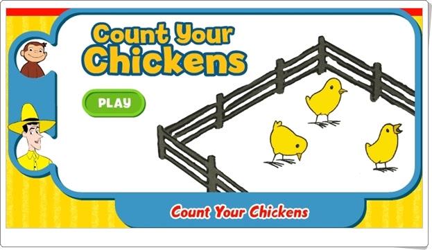 """Curious George: """"Cuenta tus pollos"""" (Juego de números hasta el 10)"""