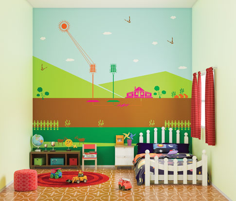 افطار الوان حائط غرفة نوم اطفال