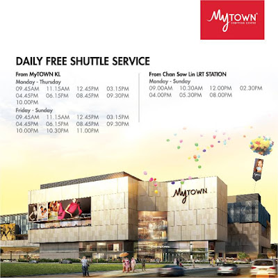 MyTOWN Shopping Centre Free Shuttle Bus Service to from Chan Sow Lin LRT Station