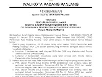 Pengumuman Hasil Akhir CPNS 2018 Kota Padang Panjang