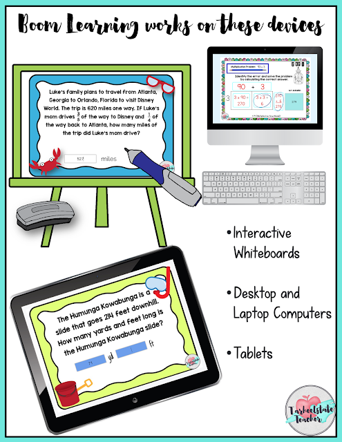 My 4th grade and 5th grade task cards have gone digital with a new interactive platform called Boom Learning! Digital task cards are  especially awesome for math centers, math stations, whole group lessons, and differentiation. If you've been looking for alternatives to Google Drive or Google Classroom--you probably want to check this out! Are you going paperless in your classroom (or at least trying to reduce your copies at school)? I'll give you options for getting the pdf printable versions as well as the digital versions so that you will have the choice for how you use them in your classroom!