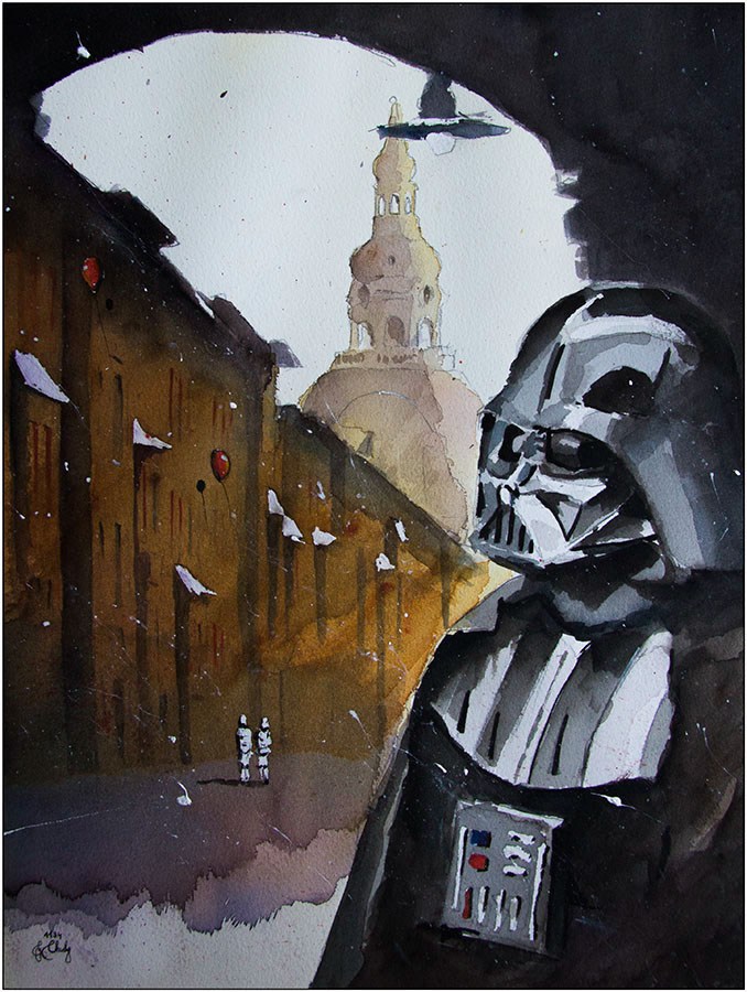 02-Lord-Darth-Vader-in-Nikiszowiec-Grzegorz-Chudy-Paintings-of-Star-Wars-worlds-in-Watercolors-www-designstack-co