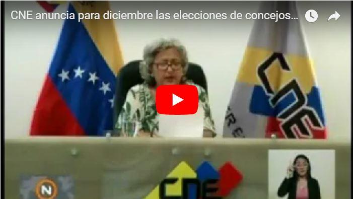 Tibisay anuncia nuevas elecciones fraudulentas para el 9 de diciembre