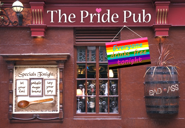 image of the exterior of a pub which has been photoshopped to be named 'The Pride Pub'