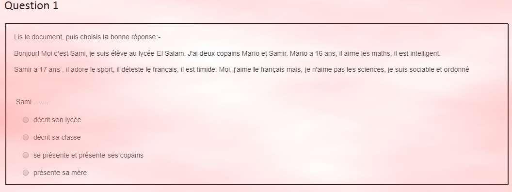 امتحان اللغة الفرنسية التجريبي اولى ثانوي مارس 2019