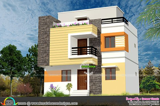 1200 Sq-Ft Low Budjet G+2 House Design