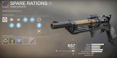 Destiny 2,  The Hand Cannon, Spare Rations, Gambit Prime
