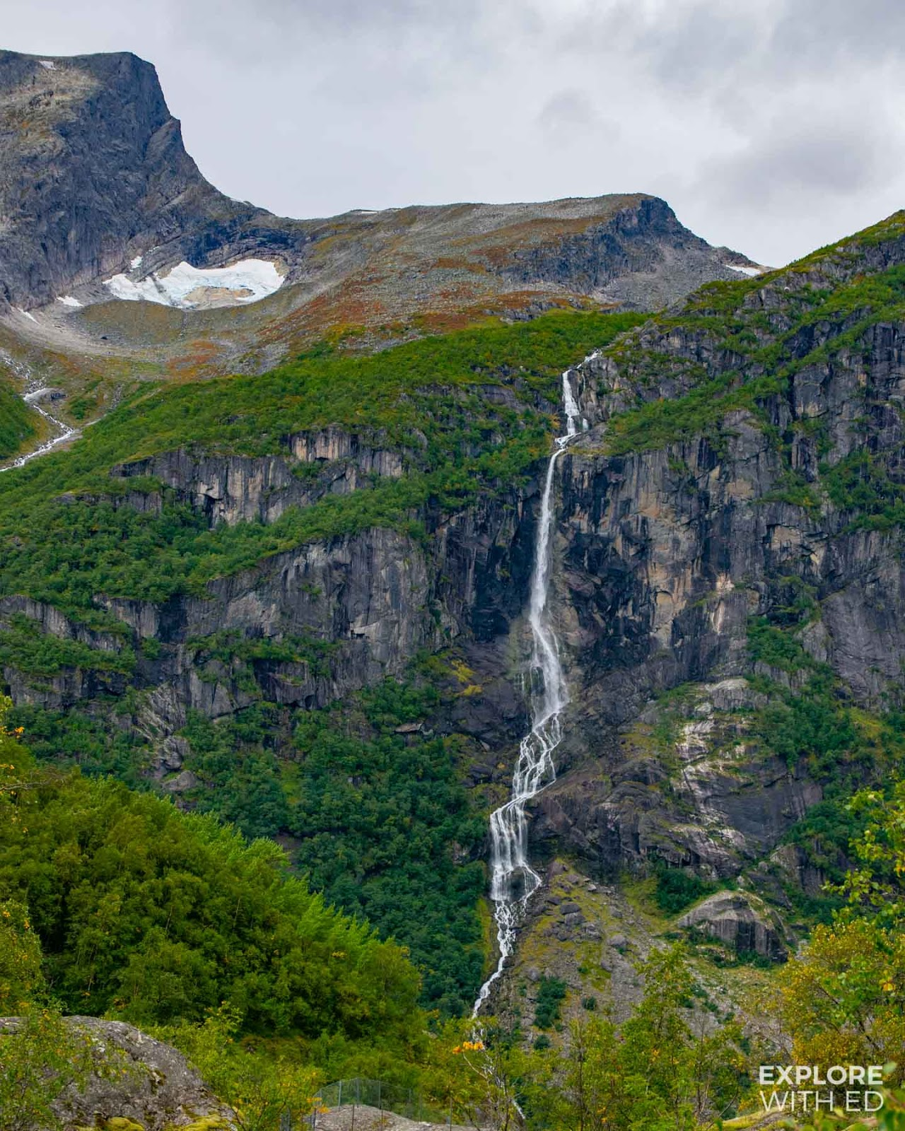 The Jurassic landscape of Jostedalsbreen National Park near Briksdal Glacier