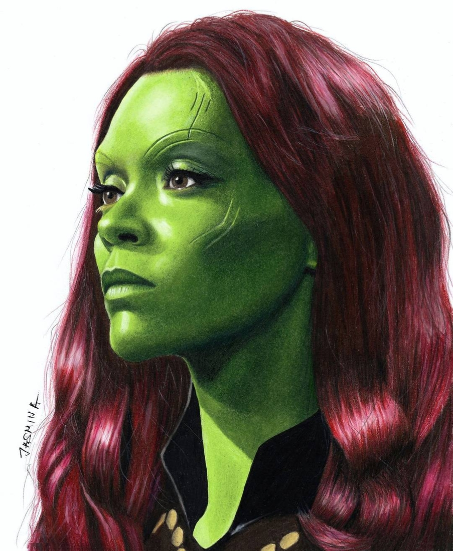 11-Gamora-from-Guardians-of-the-Galaxy-Jasmina-Susak-Superheroes-and-Villains-in-2d-and-3d-Drawings-www-designstack-co