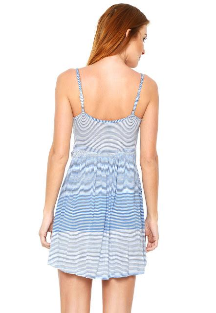 Moda Vestido Zatana Listras Azul