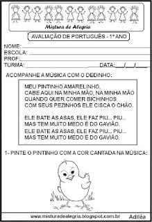 Avaliação português 1º ano