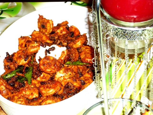 Shrimp roast with pomegranate
