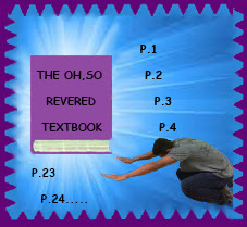 A teacher is bowing to a textbook symbolizing that he loves it and uses it all the time