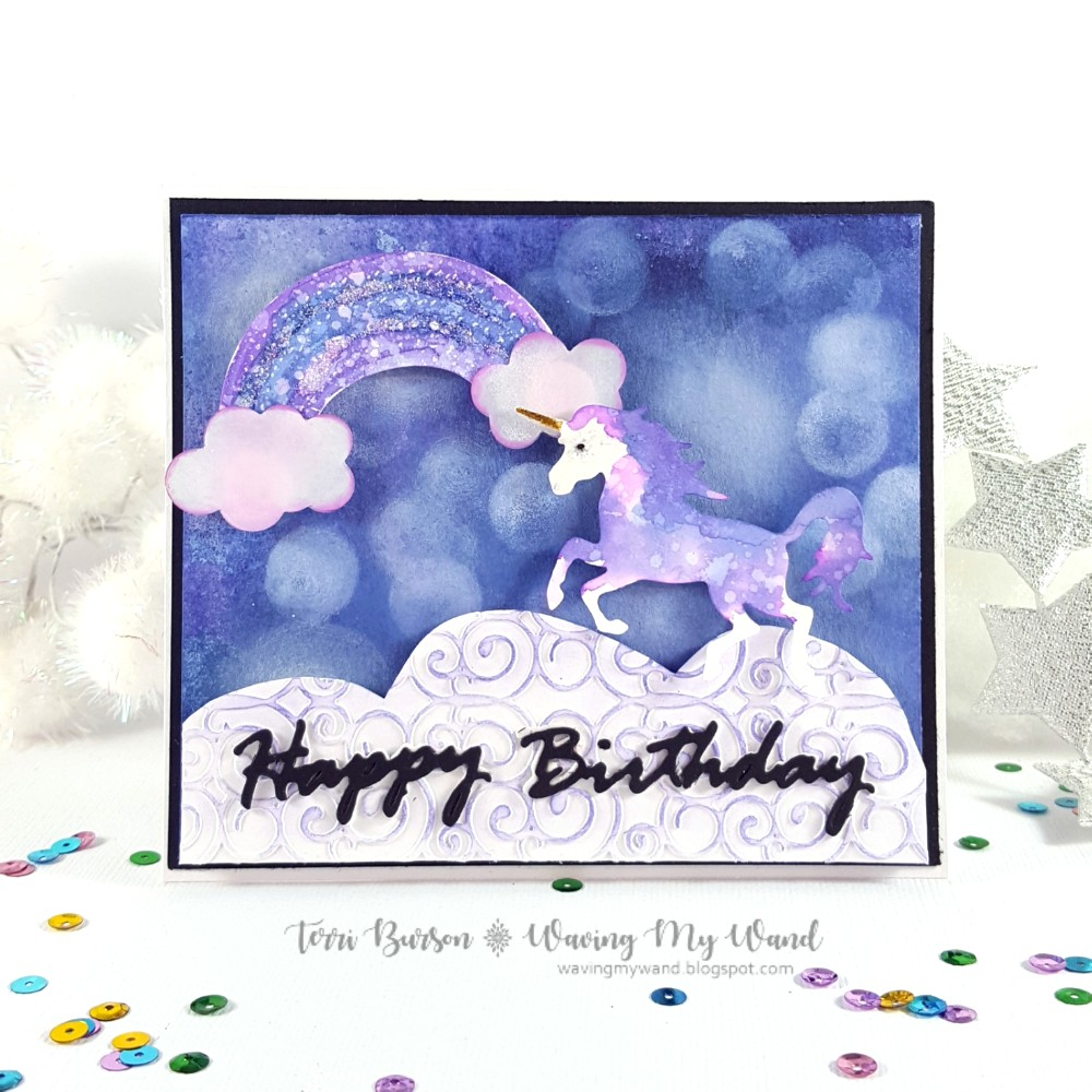 Waving my wand magical unicorn card with oxides and spellbinders please note as an affiliate for various companies in the craft industry i will receive a small commission for purchases made through my convenient m4hsunfo