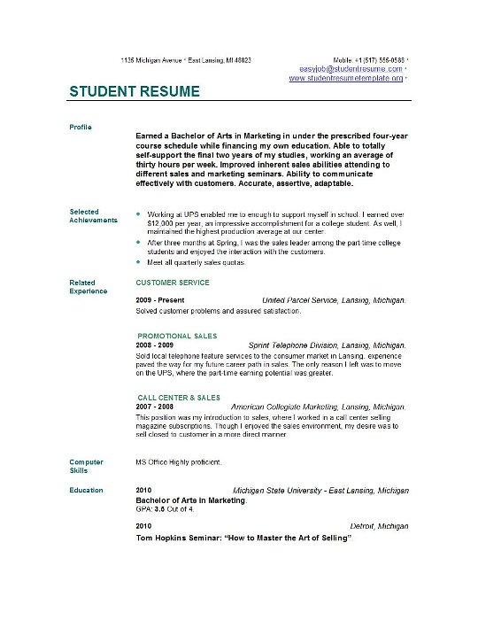 College Job Resume Sample. Simple Resume Template For College