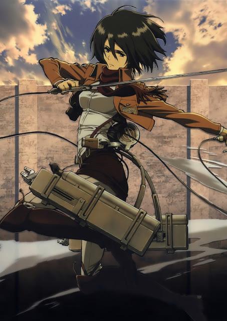 Mikasa Ackerman z bronią i sprzętem do trójwymiarowego manewru