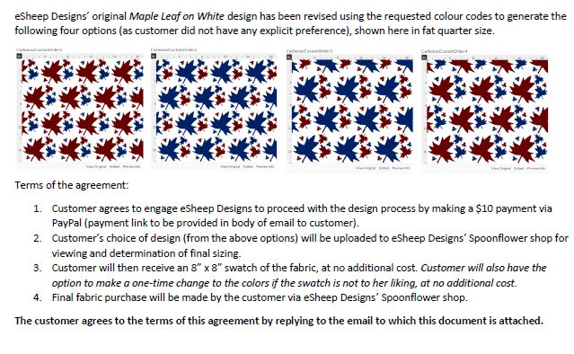eSheep Designs custom fabric order contract