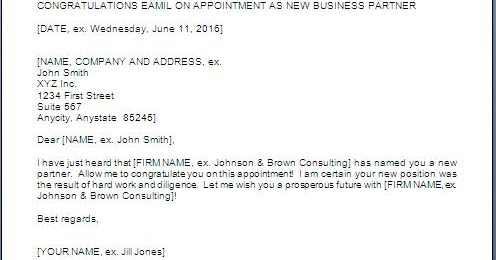 Congratulation Letter For Business Partner