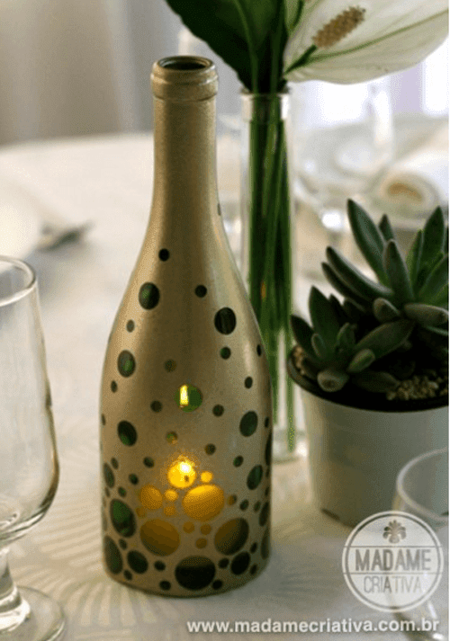 How to create a candle holder from a wine bottle diy for How to make candle holders out of wine bottles