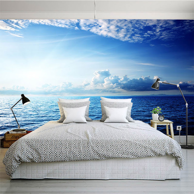 Photo Wallpaper for Bedroom Wall Murals Blue Sky Ocean