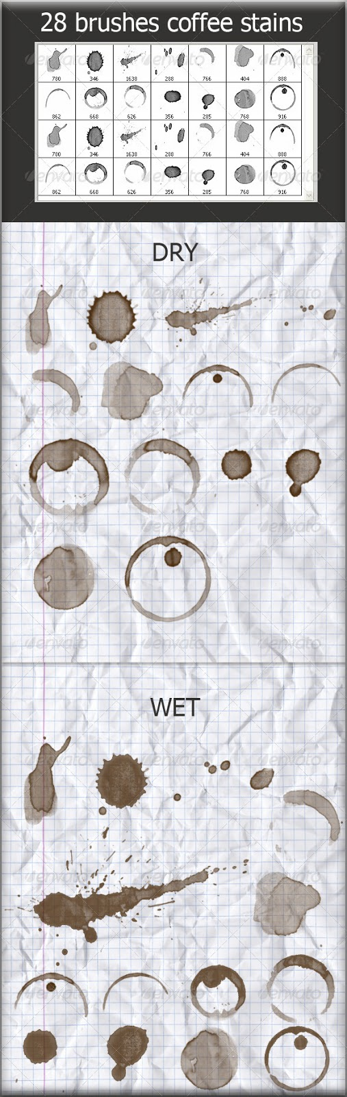 28 Brushes Coffee Stains