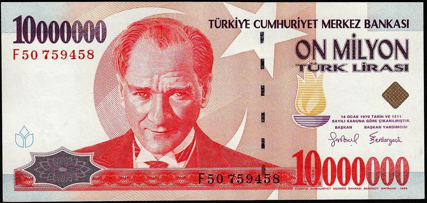 Turkey Banknotes 10 Million Turkish Lira Türk Lirasi note Mustafa Kemal Atatürk