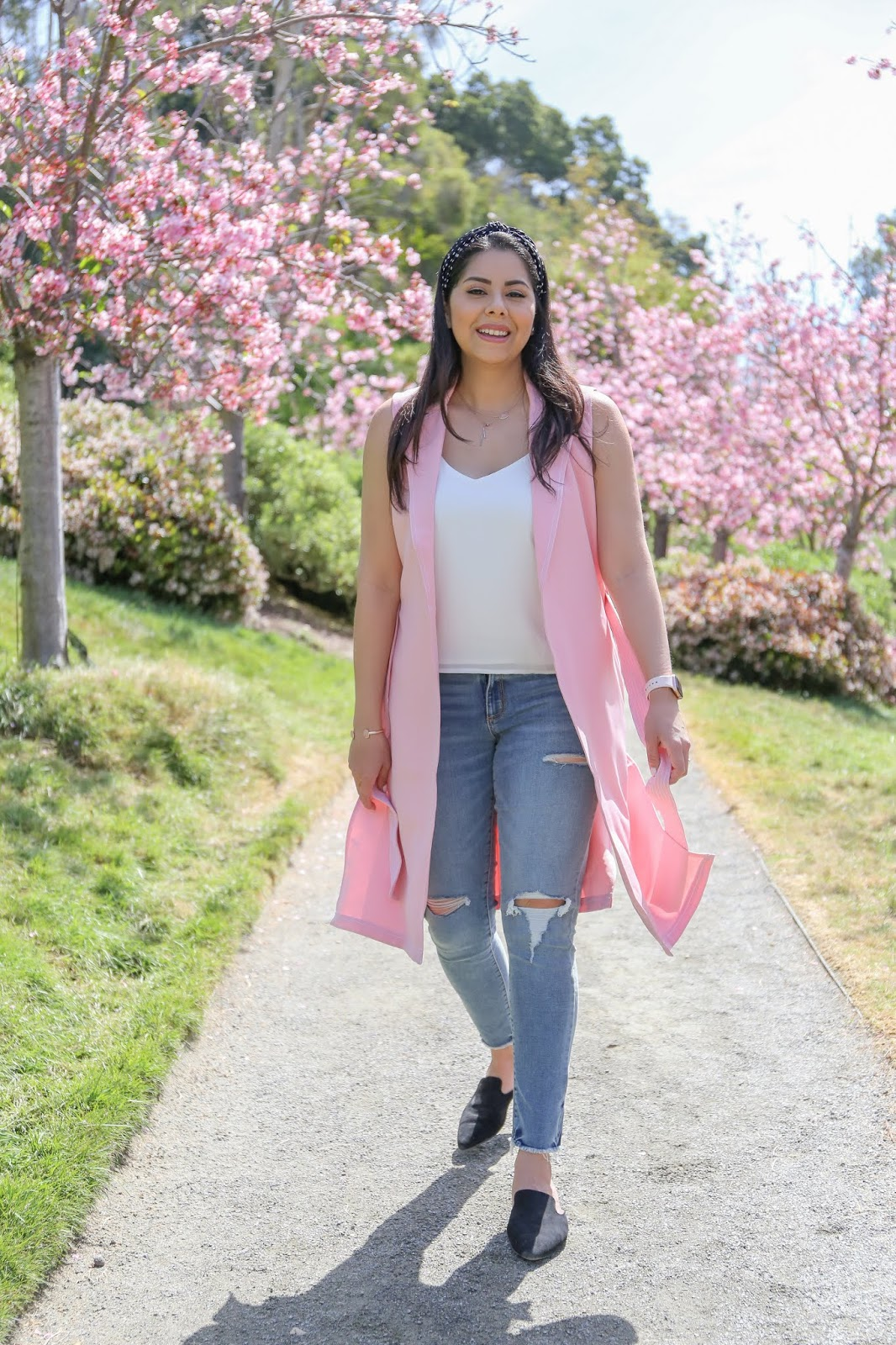 cherry blossom pictures, casual chic pink outfit