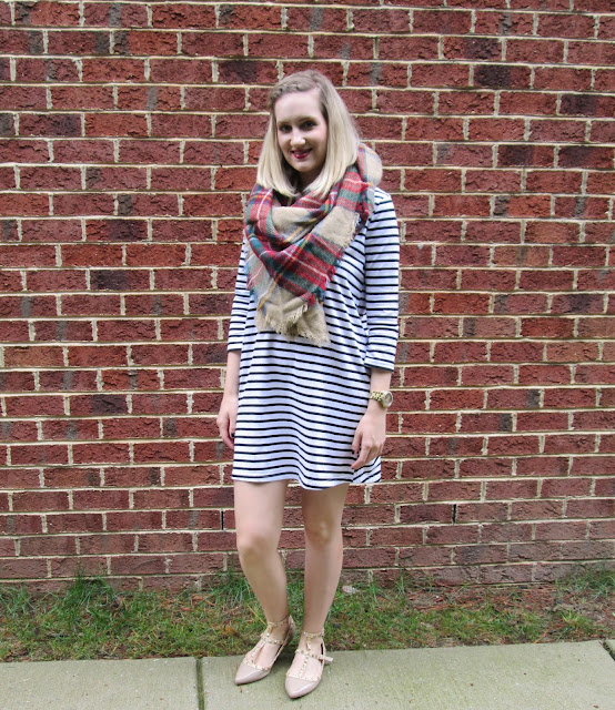 Striped dress from Tobi with plaid scarf and studded shoes.