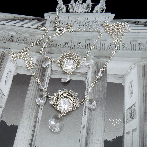 Koronkowy komplet biżuterii ślubnej