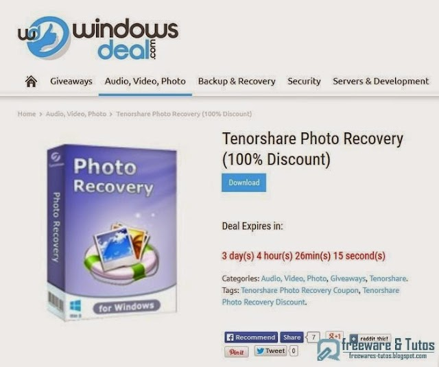 Offre promotionnelle : Tenorshare Photo Recovery gratuit !