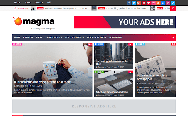 Magma Responsive Magazine Blogger Template