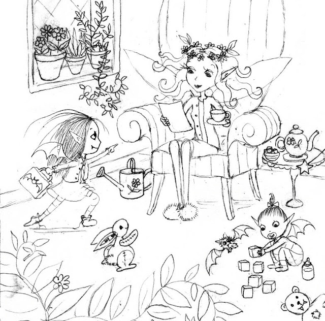 A final sketch for Isadora Moon Goes to the Ballet