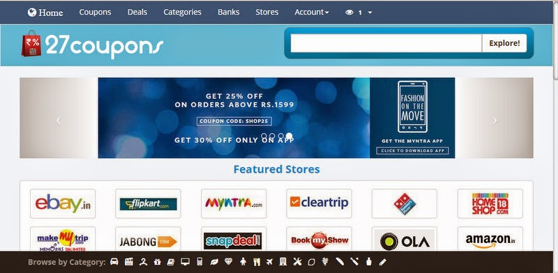 FreeCharge and Flipkart Store On 27coupons.com - Website Review